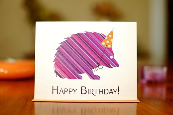 Striped Hedgehog with Party Hat Birthday Card on 100% Recycled Paper