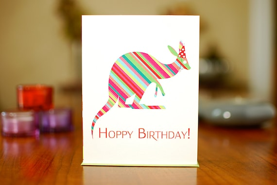 Hoppy Birthday - Kangaroo with Party Hat Birthday Card on 100% Recycled Paper