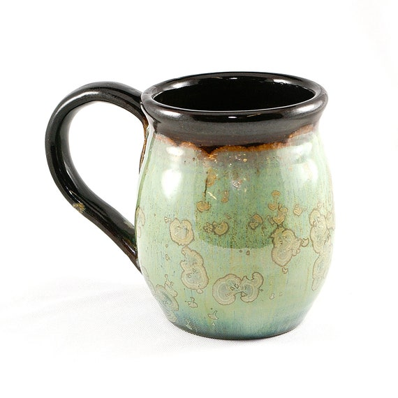 Crystalline Coffee or Tea Mug: Green & Bronze crystals on a green ground