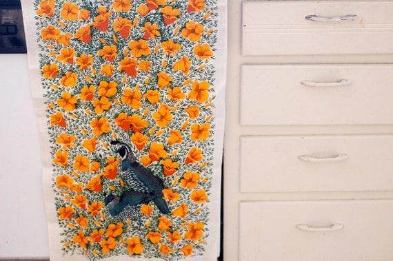 Vintage Lois Long Linen Quail and Poppy California Tea Towel