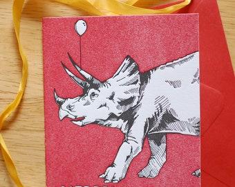 Letterpress Triceratops Birthday Card