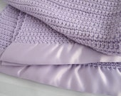 Crochet Knit Baby Blanket - Lavender - Handmade with Acrylic yarn