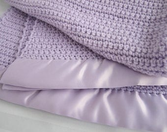 Crochet Knit Baby Blanket - Lavender - Handmade with Acrylic yarn