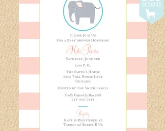 Little Elephant Baby Shower Invitation in Pink, Aqua or Yellow - DIY digital file (PRINTABLE)