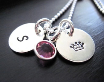 Princess Handstamped Necklace, Swarovski Crystal, Sterling Silver