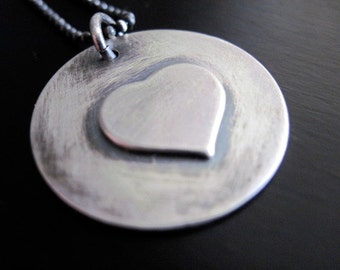 Oxidized Sterling Silver Heart Pendant Necklace