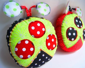 Ladybug Pillows, Stuffed Ladybug Toy - Baby Shower Gift - Custom Made to Order to Match Your Childs Room Decor - Set of Two