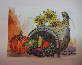 Cornucopia with Sunflowers, ACEO, original watercolor painting Fall harvest, Autumn,  295 thanksgiving