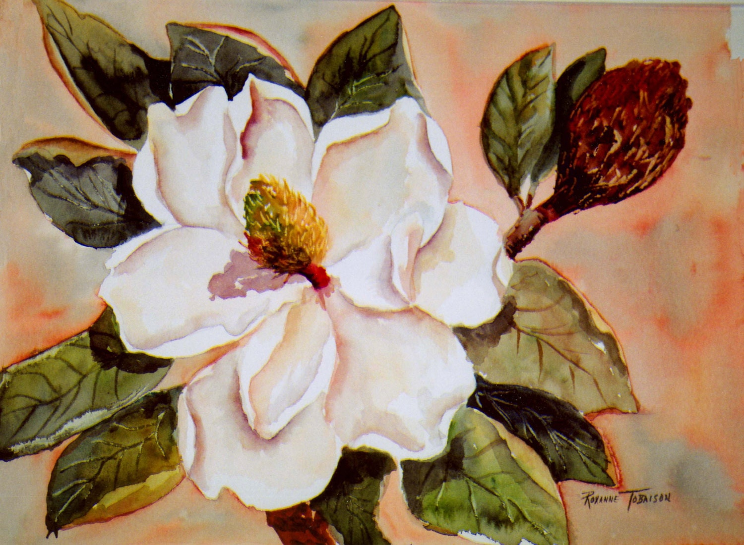 Magnolia Gold 11 X 15 Original Watercolor Painting Southern
