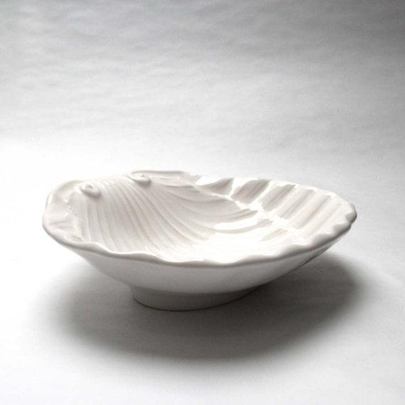 White Shell Dish - Vintage Seashell Plate