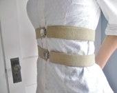 Tan Suspender Belt, Elastic and leather belt