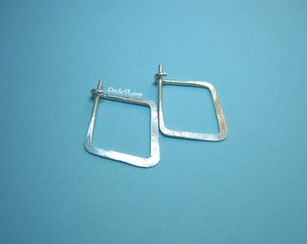 Simple square hoop sterling silver earrings