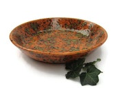 Hand Painted Ceramic Serving Bowl in Amber Caramel and Green