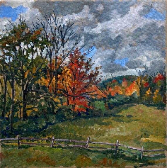 Oil Painting Landscape, Autumn in the Berkshires. Original Oil on Canvas, 10x10 Impressionist Painting
