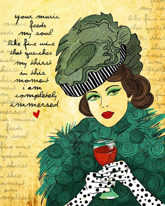 Vienna / Wine Lover Music Lover / original illustration ART Print SIGNED / 8 x 10 / NEW