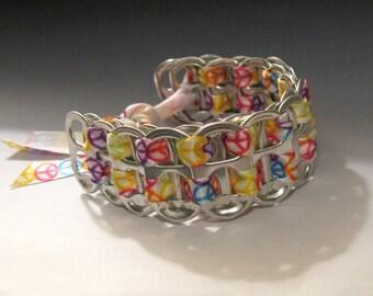 Recycled Soda Pop Can Tab Bracelet Peace Symbol Ribbon