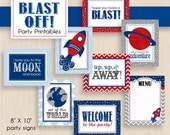 BLAST OFF 8X10 Party Signs in Navy and Red- Instant Download