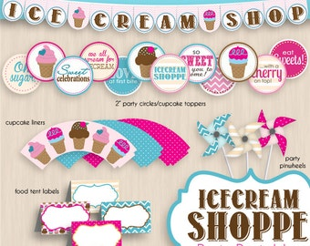 ICE CREAM SHOPPE Birthday Party Printable Package- Instant Download