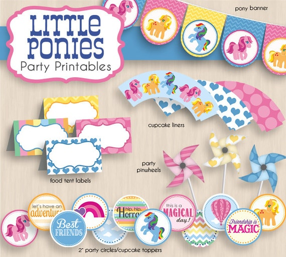 little ponies birthday party printable package instant. Black Bedroom Furniture Sets. Home Design Ideas