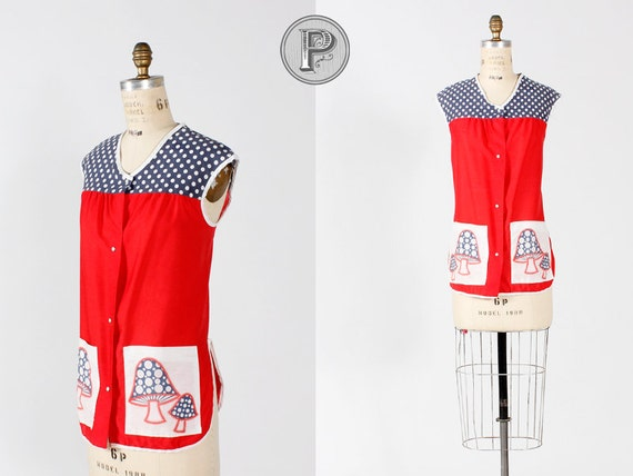60s apron - red white blue mushrooms polka dots kitsch: Patriotic Mushrooms (w860r01-1)