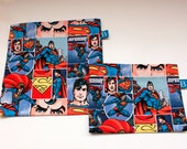 Reuseable Eco-Friendly Set of Snack and Sandwich Bags in Superman Comics Fabric