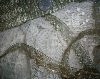 1 yd. of antique gold french very fine metal lace, more avail.