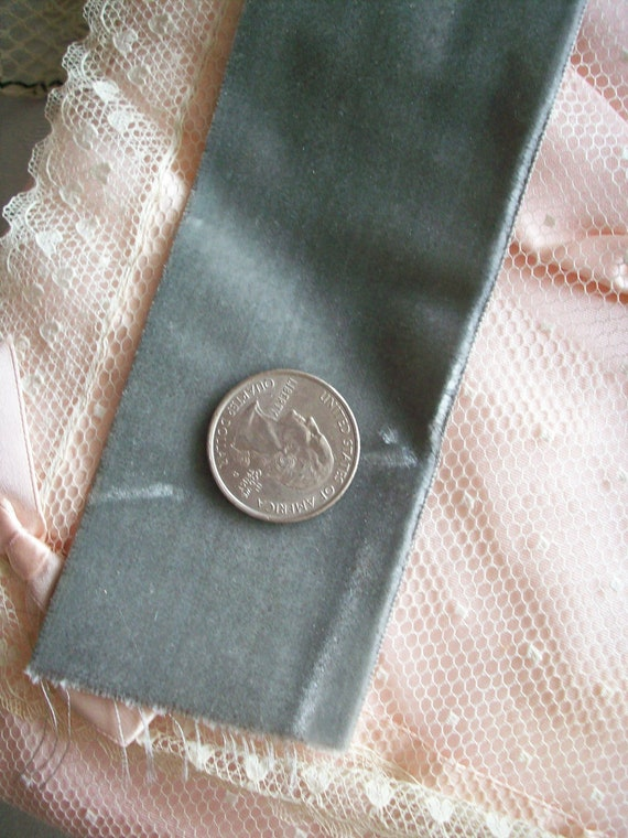 1 yard of superb silver grey 2 inch silk rayon velvet ribbon, more avail.