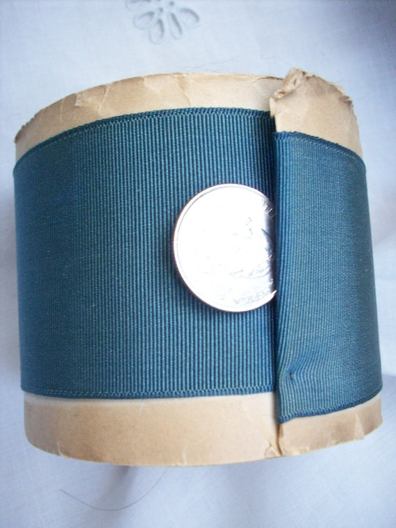 """reserved for T 10 yds. of Vintage grosgrain ribbon in dark teal , more avail., 2"""""""