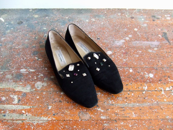 SALE//////Vintage 1980s black suede leather flats with jewelled uppers///////7.5