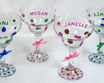 Margarita Glass Personalized Polka Dots Hand Painted