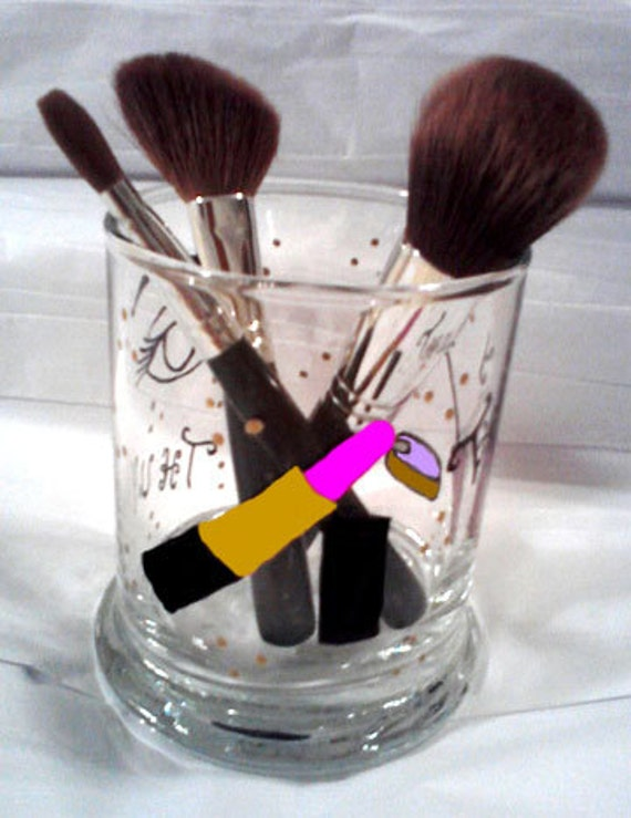 Personalized Makeup Brush Container Hand Painted Glass