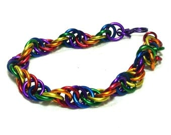 Chainmaille Jewellery, Rainbow Spiral Bracelet, Aluminum