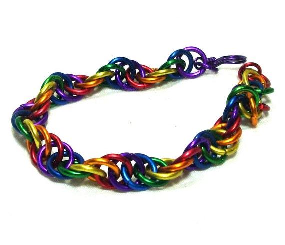 Chainmaille Jewellery, Rainbow Spiral Bracelet, Aluminum