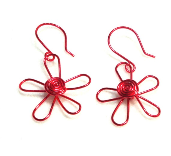 Dark Pink Wire Flower Earrings, Or Choose Your Own Color