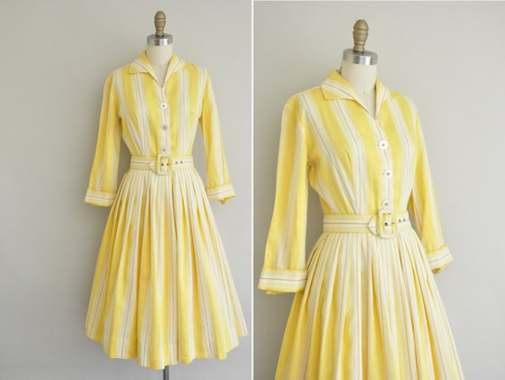 1950s cotton dress / vintage 50s yellow stripe dress / 50s yellow honeysuckle dress