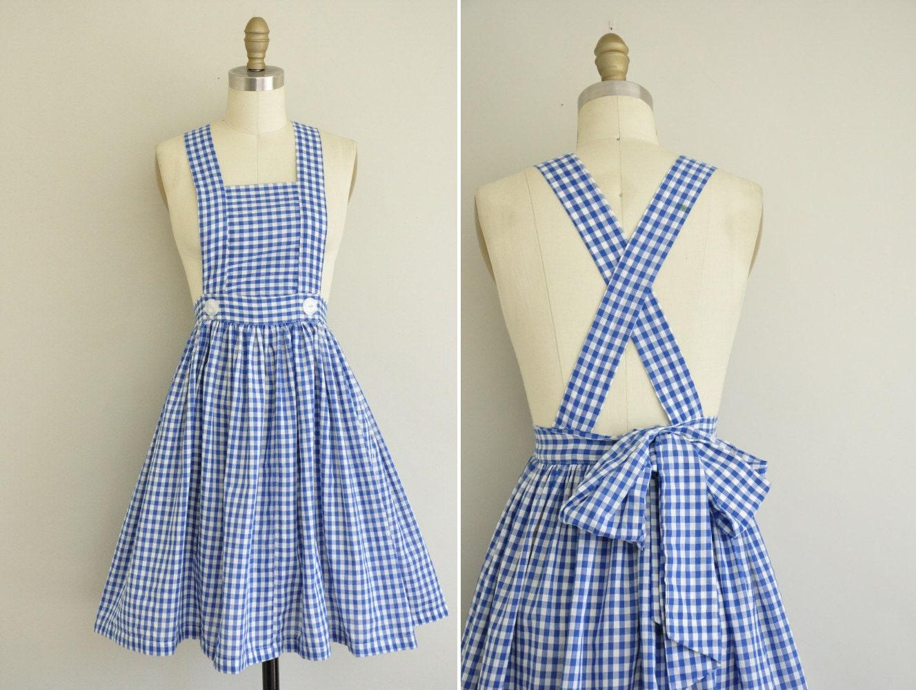 Vintage 1950s Gingham Dress 50s Cotton Full Skirt 50s Blue