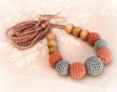 Crochet Nursing Necklace / Teething Necklace / Nursing Mom Accessory - Grey Peach