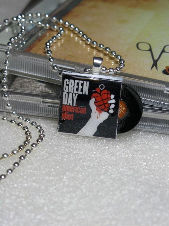 Green Day Mini Album Pendant Necklace with Tiny Record Vinyl