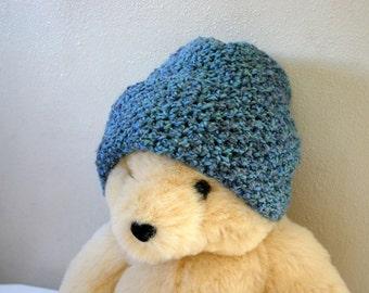 Crocheted hat blue with brim winter wear large women men skullcap soft medium slate blue warm washable fashion