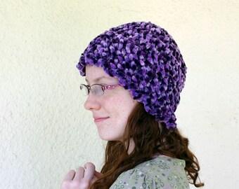 Purple crochet hat adult women teen thick beanie scalloped edge variegated violet rope bulky yarn fuzzy cap warm winter wear fashion