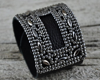 Vintage Shoe Buckle Black and Silver Leather Bracelet SALE