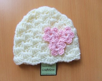 Baby Girl Hats - Crochet baby girl hat Natural Lamp Shell with flower - Baby Girl Beanie - CHOOSE YOUR SIZE - Photography props