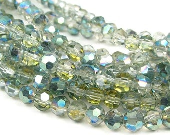 "8""  50pcs 4mm SAHARA green half coat AB round faceted designer crystal glass beads"
