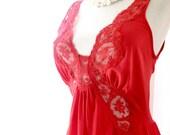 Vintage OLGA Nightgown in Scarlet Red Bodysilk