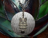 Steampunk SILVER OWL on a Large Round Focal  with  long chain necklace
