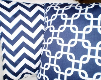 Navy Blue Pillow Covers, Decorative Throw Pillows Cushion Cover Pillow Case Navy White Chevron Zig Zag Gotcha Link, Set of Two Various Sizes