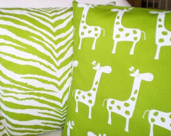 Green Nursery Pillow Covers, Decorative Throw Cushion Covers Children Lime Green on White Giraffe Zebra Baby Pillow, Combo Set Various Sizes