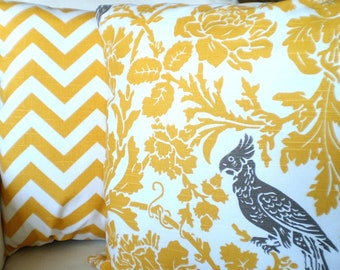 Yellow Pillow Covers, Decorative Throw Pillows, Cushions, Yellow Taupe Bird Chevron Zig Zag, Decorative Pillows, Set of Two Various Sizes