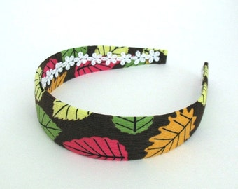 Fabric Covered Autumn Headband, Wide Headband fits Girls and Adults Autumn Leaves Winter Corduroy Headband by Pink Lemonade Duxbury