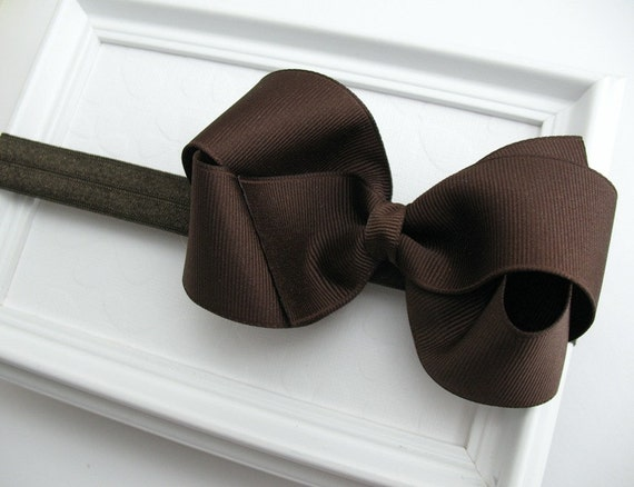 Brown Bow Headband, Baby Thanksgiving Large Bow Baby Headband, Autumn, First Thanksgiving, Dark Brown, Infant, Toddler, Photo Prop